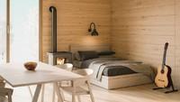 <p>Kamar simpel dengan dinding dan lantai yang terbuat dari kayu, akan menciptakan kesan hangat. Warna sprei yang kontras dengan kayu membuat kamar ini menarik dan tidak monoton. (Foto: iStock)</p>