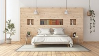 <p>Bunda juga bisa memasang kayu di tengah-tengah dinding seperti ini sebagai pengganti sandaran tempat tidur. Kayu ini dapat berfungsi seperti lemari buffet yang cocok sebagai tempat penyimpanan. (Foto: iStock)</p>