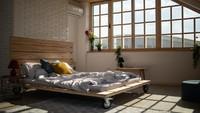 <p>Kamar serba kayu dengan kaca yang lebar seperti ini membuat kamar terasa hangat dan nyaman. Selain itu, tempat tidur kamar ini juga unik dengan 4 roda di bawahnya. (Foto: iStock)</p>