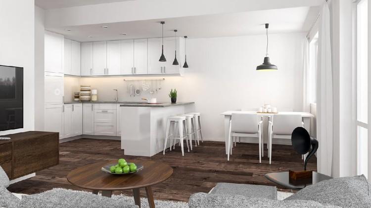 Typical Scandinavian style kitchen interior design. ( 3d render )