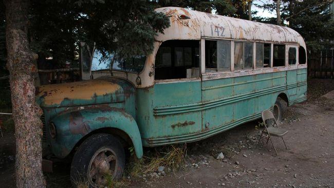 USA, Alaska: The original film bus from Into the Wild
