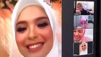 <p>Rona bahagia terlihat dari Vebby, begitupun para sahabat yang menghadiri pernikahan virtual mereka. (Foto: Instagram Story @hepidavid)</p>