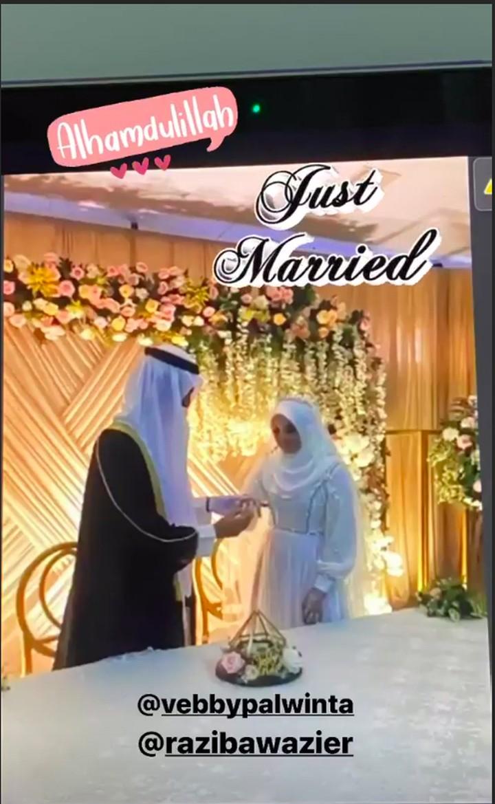 <p>Vebby Palwinta resmi dipersunting Razi Bawazier pada Sabtu (18/4/2020). Pasangan ini menyiarkan pernikahan secara virtual via Zoom karena pandemi Corona, Bunda. (Foto: Instagram Story @dianayulestari)</p>