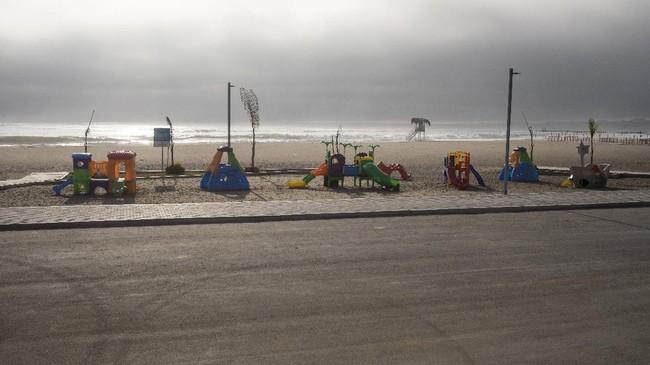 A children's playground is seen in
