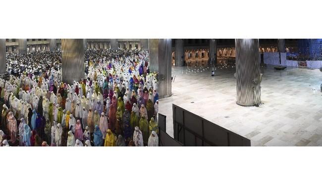 Foto kolase suasana Shalat Tarawih berjamaah di Masjid Istiqlal sebelum adanya wabah COVID-19 (kiri) dan Suasana sepi di Masjid Istiqlal Jakarta, Kamis (23/4/2020). Selama masa Pembatasan Sosial Berskala Besar (PSBB) Masjid Istiqlal ditutup untuk umum sehingga tidak menggelar Shalat Tarawih dan aktivitas lainnya pada bulan Ramadhan 1441 Hijriah. ANTARA FOTO/Hafidz Mubarak A/aww.
