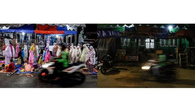 Foto kombo sejumlah umat Islam melaksanakan Shalat Tarawih sebelum ditiadakan (kiri) dan suasana sesudah ditiadakan (kanan) di Pasar Gembrong, Jakarta, Kamis (23/4/2020). Kementerian Agama menyatakan bahwa kegiatan masyarakat selama bulan puasa seperti Shalat Tarawih di masjid ditiadakan untuk mencegah penyebaran COVID-19. ANTARA FOTO/Rivan Awal Lingga/aww.