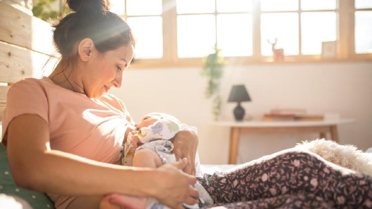 Mother breastfeeding a new born baby boy in a hospital room