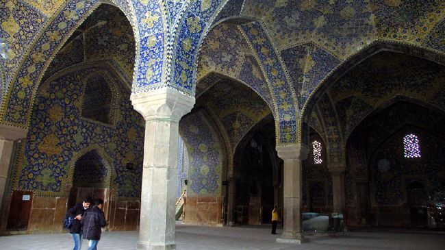 Isfahan, Iran - January, 02, 2012: view of the particoular architecture of Mosque of Sheikh Lotfollah in Isfahan city