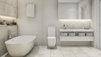 <p>Kunci menata kamar mandi dengan nuansa putih adalah menjaganya tetap bersih, Bunda. Jadi pastikan untuk selalu membersihkannya ya. (Foto: Getty Images/iStockphoto/dit26978)</p>