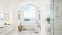 <p>Warna putih kerap dijadikan ciri rumah minimalis. Tak hanya membuat kamar mandi jadi tampak luas, namun juga terlihat bersih.(Foto: Getty Images/YinYang) </p>