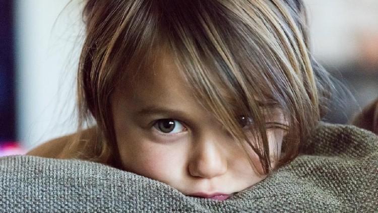caucasian little girl very upset