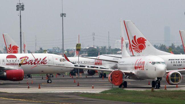 Sejumlah armada pesawat Lion Air Group terparkir di Apron Terminal 1 C Bandara Soekarno Hatta, Tangerang, Banten, Kamis (30/4/2020). Lion Air Group yang terdiri dari Batik Air, Lion Air dan Wings Air dengan perizinan khusus (exemption flight) dari Kementerian Perhubungan akan kembali melayani penerbangan domestik yang rencananya  dimulai pada hari Minggu (3/5/2020) untuk melayani pebisnis, angkutan kargo, perjalanann bagi pemimpin lembaga tinggi negara RI, serta tamu negara. ANTARA FOTO/Muhammad Iqbal/aww.