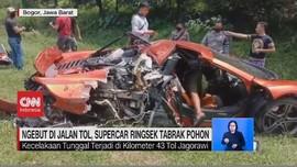 VIDEO: Ngebut di Jalan Tol, Supercar Ringsek Tabrak Pohon