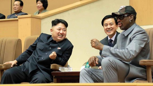 FILE - In this Jan. 8, 2014, photo provided by the North Korean government, North Korean leader Kim Jong Un, left, talks with former NBA player Dennis Rodman, right, as they watch an exhibition basketball game at an indoor stadium in Pyongyang, North Korea. In the West, Kim portrayals often run to caricature. His broken friendship with Rodman, the former basketball star who Kim reportedly idolized as a schoolboy; the rumors about his extreme love of cheese and his allegedly creative ways of disposing of officials who displease him.  Independent journalists were not given access to cover the event depicted in this photo. (Korean Central News Agency/Korea News Service via AP)