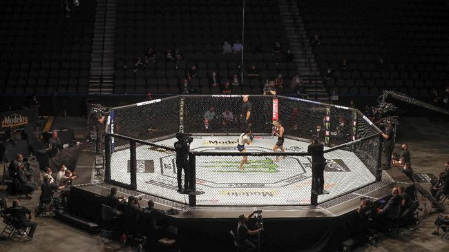 Michelle Waterson, center left, and Carla Esparza battle without spectators during a UFC 249 mixed martial arts bout, Saturday, May 9, 2020, in Jacksonville, Fla. (AP Photo/John Raoux)