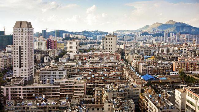 High angle panorama of Kunming skyline, capital of Yunnan Province in China