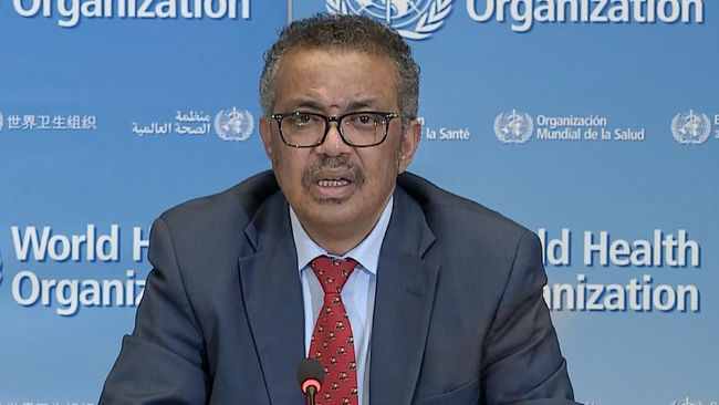 A TV grab taken from a video released by the World Health Organization (WHO) shows WHO Chief Tedros Adhanom Ghebreyesus attending a virtual news briefing on COVID-19 (novel coronavirus) from the WHO headquarters in Geneva on April 6, 2020. - The WHO said on April 6, 2020 that facemasks could be justified in areas where hand-washing and physical distancing were difficult, as it teamed up with Lady Gaga to launch a giant coronavirus awareness concert. (Photo by - / AFP)