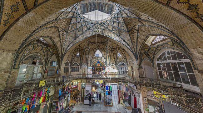 Tehran, Iran - March 28, 2018: Old bazaar with bricked dome, known as Grand Bazaar, in Tehran, Iran.