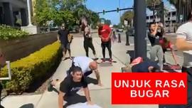 VIDEO: Demonstran Gelar Aksi Dengan Ush Up Dan Squat Jump