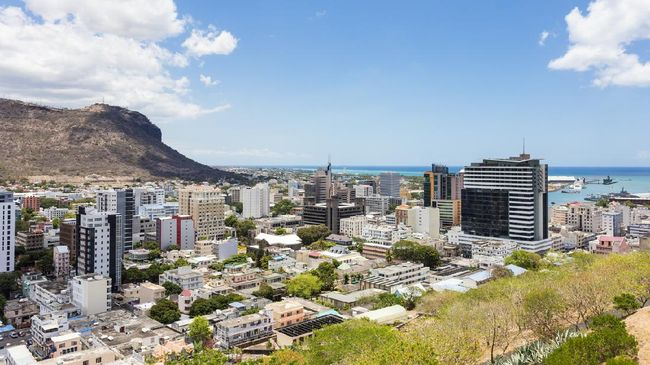 The city of Port Louis viewed from the fort Adelaide along the Indian Ocean in Mauritius capital city