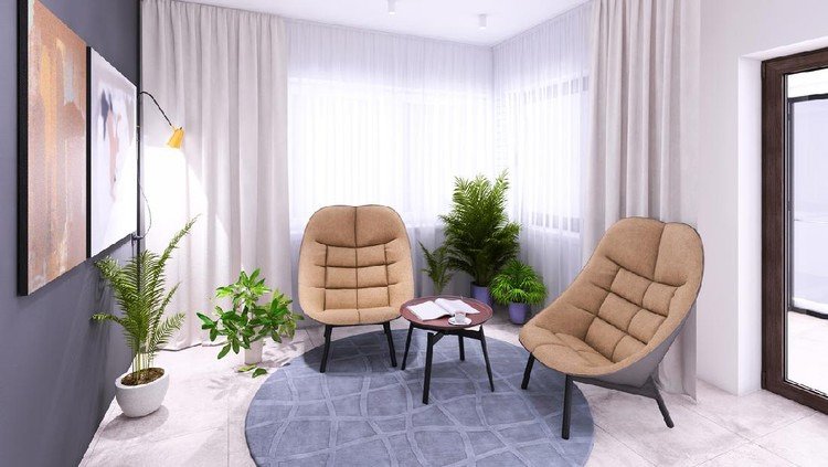 Modern living room interior with pastel colored armchairs and coffee table with with big window in the background and grey wall and carpet. Template for copy space. Render.