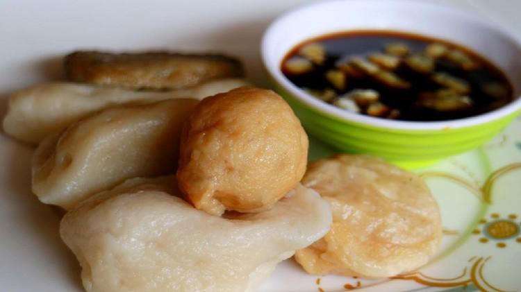 Empek-empek (fried savory fish cake) from Palembang, South Sumatra, Indonesia. Indonesian food.