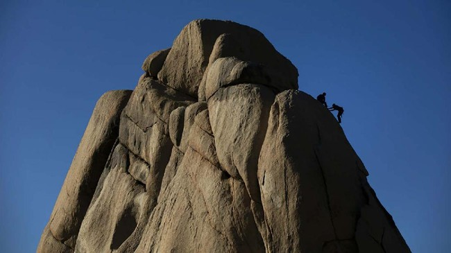 A man climbs a rock face at Joshua Tree National Park in California, Tuesday, May 19, 2020. The park reopened this week after a lengthy closure to help slow the spread of the new coronavirus. (AP Photo/Jae C. Hong)