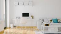 Meja dan kursi berwarna putih bisa menjadi pilihan Bunda saat mendekorasi rumah minimalis. Warna putih memberikan kesan bersih dan menenangkan. (Foto: iStock)