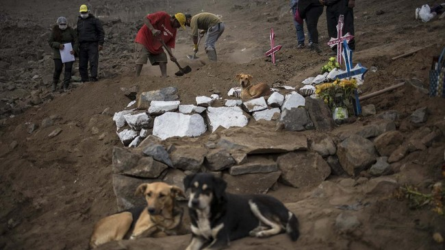 Cemetery workers work on the tomb of Romulo Huallpatuero, 50 , who died from COVID-19, at the Nueva Esperanza cemetery on the outskirts of Lima, Peru, Tuesday, May 26, 2020. (AP Photo/Rodrigo Abd)
