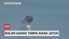 VIDEO: Balon Udara Tanpa Awak Jatuh di Kabel Listrik