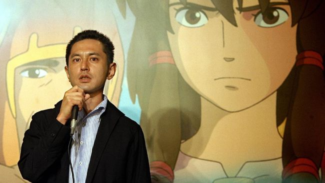 Director Goro Miyazaki delivers a speech at a press conference to promote his animation movie
