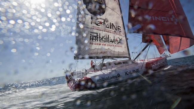 British skipper Samantha Davies sails her Imoca 60 monohull