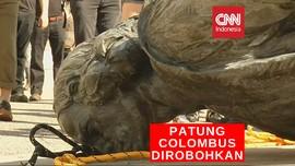 VIDEO: Pengunjuk Rasa Robohkan Patung Christoper Colombus