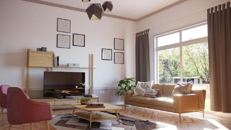 Minimalist style designed living room interior scene on sunny weather. ( 3d render )