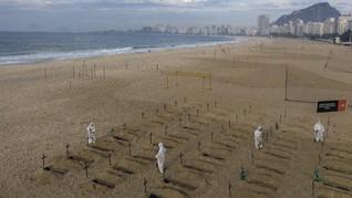 Foto: Aktivis Gali Kuburan Protes Penanganan Corona di Brasil