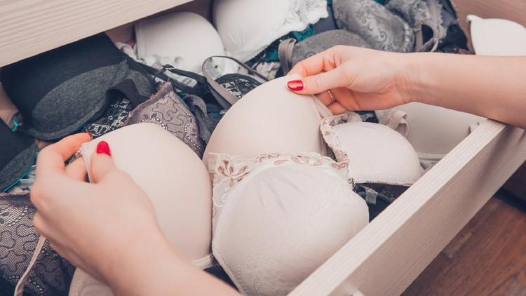 Drawers filled with sexy lace lingerie. Textile, Underwear.