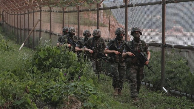 South Korean Marines patrol on Yeonpyeong Island, South Korea, Tuesday, June 16, 2020. North Korea blew up an inter-Korean liaison office building just north of the heavily armed border with South Korea on Tuesday in a carefully choreographed display of anger that sharply raises tensions on the Korean Peninsula and puts pressure on Washington and Seoul amid deadlocked nuclear diplomacy. (Kim In-chul/Yonhap via AP)