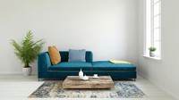 <p>Salah satu ide yang dapat Bunda tiru adalah memasang karpet yang warnanya senada dengan sofa. Terlihat indah ya, Bunda untuk spot foto. (Foto: iStock)</p>