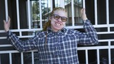 Yvonne Gumbo poses for a photo outside her family home in Harare, in this Tuesday, June, 9, 2020 photo. Each time Gumbo, who has albinism and her