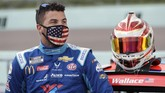 Bubba Wallace waits for the start of a NASCAR Cup Series auto race Sunday, June 14, 2020, in Homestead, Fla. (AP Photo/Wilfredo Lee)