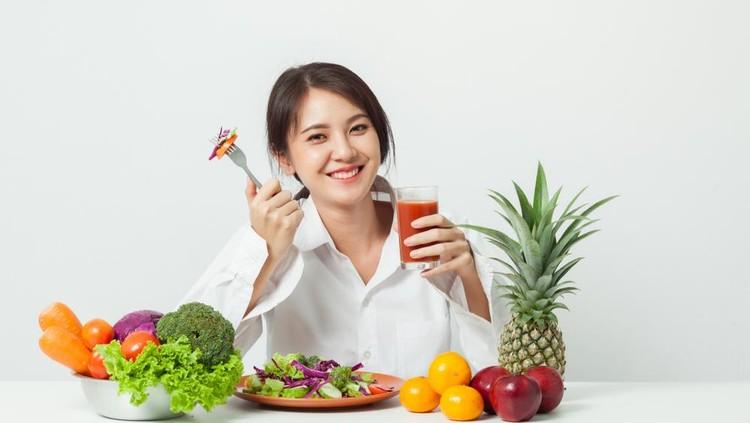 ilustrasi makan buan dan sayuran