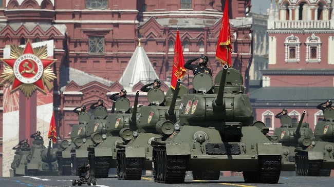 Soviet tanks T-34 roll toward Red Square during the Victory Day military parade marking the 75th anniversary of the Nazi defeat in Moscow, Russia, Wednesday, June 24, 2020. The Victory Day parade normally is held on May 9, the nation's most important secular holiday, but this year it was postponed due to the coronavirus pandemic. (AP Photo/Alexander Zemlianichenko)