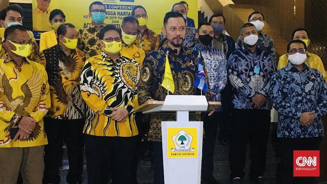 Partai Golkar menyambut positif wacana koalisi dengan Demokrat, namun Airlangga Hartarto yang harus jadi capresnya.