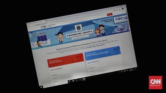 Ilustrasi website Penerimaan Peserta Didik Baru (PPDB) DKI Jakarta. CNN Indonesia/Bisma Septalisma