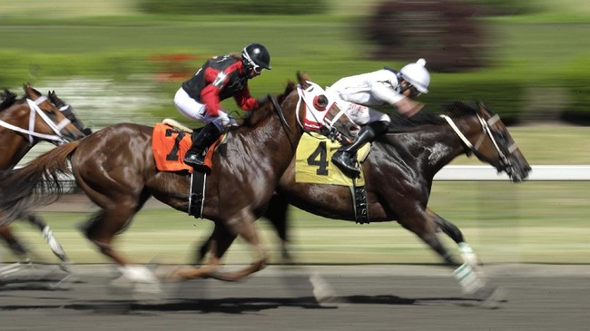 Miso Fast (7), with jockey Jennifer Whitaker, overtakes Lochness (4), with jockey Alex Anaya, to win a horse race Wednesday, June 24, 2020, at Emerald Downs Racetrack in Auburn, Wash., on the first day of thoroughbred racing at the track since all professional sports in Washington state were curtailed in March by the outbreak of the coronavirus. No spectators were allowed, but online wagering was available and the races were streamed. Organizers hope to continue racing into October on a modified schedule. (AP Photo/Ted S. Warren)