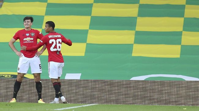 Manchester United's Harry Maguire, left, celebrates with Manchester United's Mason Greenwood after scoring his side's second goal during the FA Cup sixth round soccer match between Norwich City and Manchester United at Carrow Road stadium in Norwich, England, Saturday, June 27, 2020.(Catherine Ivill/Pool via AP)