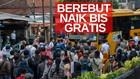VIDEO: Penumpang KRL Berebut Naik Bus Gratis