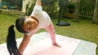 <p>Ketika terpaksa harus di rumah saja karena pandemi corona, Ania tetap energik bermain di sekitaran rumah. Misalnya olahraga pagi di halaman belakang. (Foto: Instagram @reisabrotoasmoro)</p>