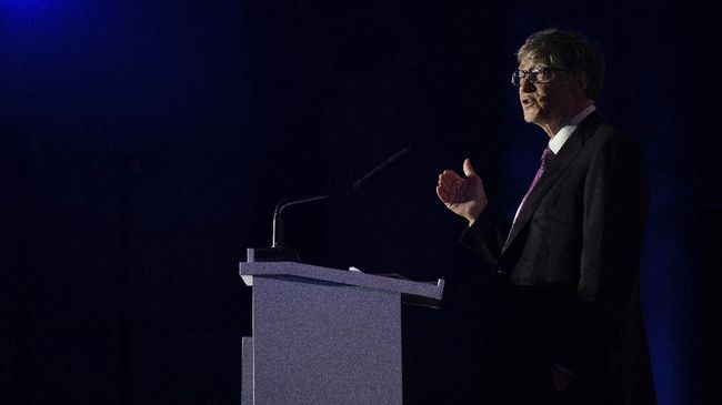 Microsoft founder Bill Gates gives a speech during the