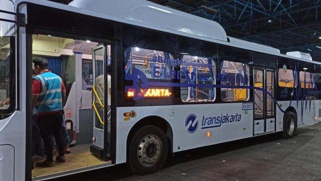 Bus listrik BYD untuk Transjakarta yang disediakan Bakrie Autoparts.